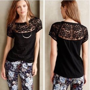 Anthropologie Lace Tee Meadow Rue S Small Black